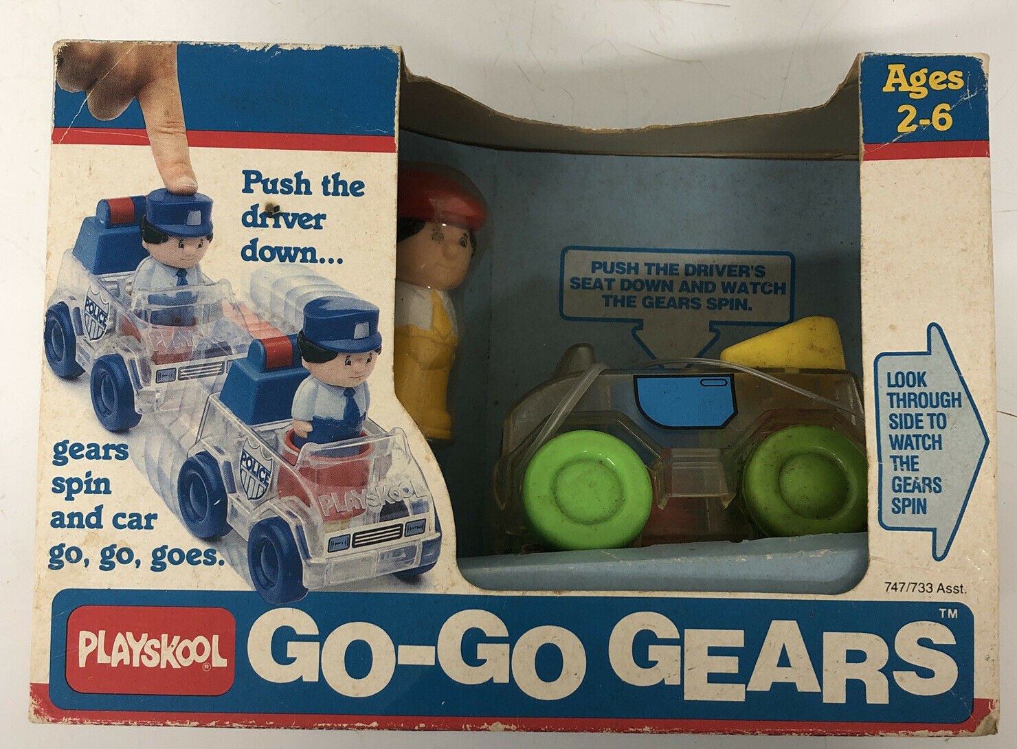 Primary image for Playskool Vintage 1988 Go Go Gears Race Car Vehicle Push and go