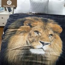 Naturelife Flannel Throw Blanket 3D animal Prints Plaid luxury Coral Bla... - $42.85 CAD