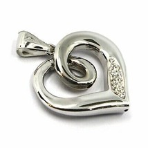"""SOLID 18K WHITE GOLD PENDANT HEART, SPIRAL, KNOT, CUBIC ZIRCONIA, 20mm, 0.8"""" image 2"""