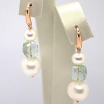 Tropfen Ohrringe Rosagold 18k, Weissen Perlen, Prasiolith Grün image 1