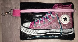 Pink with Black Background Converse High Top zip bag with clip - $14.00