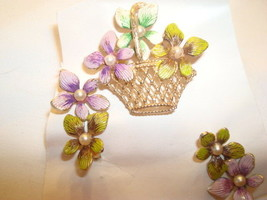 Vintage 3 Piece Purple Green Aqua Enamel Fx Pearl Flower Basket Pin Earr... - $14.84