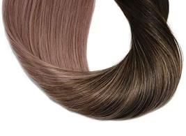 Tape In Hair Extensions Human Hair Balayage Ombre Hair 20pcs/50g Per Set Dark Br image 7