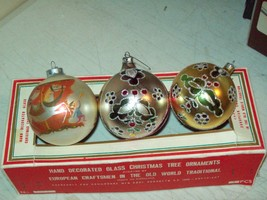 vintage Christmas ornaments with box made in Romania hand decorated glass - $14.85