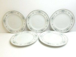 """5 Wade Diane Fine Porcelain China 10 1/8"""" Japan Blue Floral Silver Dinner Plates - $46.40"""