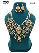 Indian Ethnic Kundan Jadau GoldPlated Necklace Earring Jewelry long haar set 06 - $35.63
