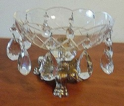Etched Glass Bowl Copper Pedestal Claw Footed Bowl W/Diamond Shaped Glas... - $34.65