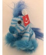 """Blueberry the Stuffed Blue Zebra Magnificent Manes by Aurora 7"""" A26EF - $13.95"""