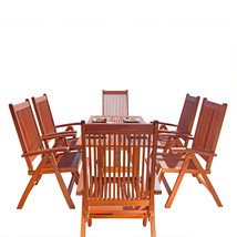 Malibu Eco-Friendly 7-Piece Wood Outdoor Dining Set with Foldable Arm Ch... - $953.22