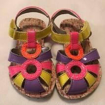 Stride Rite Girls Sandal Pink Orange Yellow Color Block Hook Loop Toddle... - $26.88