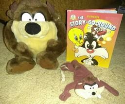lot of 3 Ace Looney Tunes Tasmanian Devil Taz Stuffed Plush Animals & book - $7.92