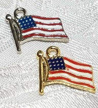 RED, WHITE, BLUE AMERICAN FLAG FINE PEWTER PENDANT CHARM - 14x14x2mm