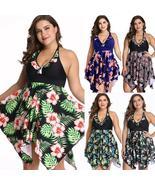 Women Plus Size Floral Ruffled Halter Neck Asymmetric Hem Beach Swimwear... - $30.85+