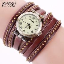 CCQ Vintage Rivet Leather Bracelet Watches Fashion Women Quartz Watches ... - $5.16