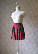 RED Pleated PLAID SKIRT Campus Style Red Plaid Pleat Skirt Red Check Mini Skirt image 8