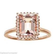 MORGANITE DIAMOND HALO ENGAGEMENT RING EMERALD CUT 2.29CT STERLING SILVE... - €366,24 EUR