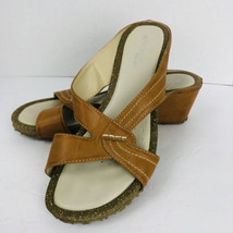 Patrizia by Spring Step Avelle Tan Leather Wedge Sandal Size 8.5 Shoe - $39.59
