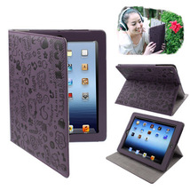 For iPad 4/3/2 Purple Cute Leather Case with Holder  - $14.29