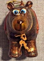 Vintage Ceramic Brown Bear Christmas Ornament - $9.50