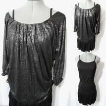 Nwt C. LUCE 2pc Dress Set S Black Metallic top Ruffled flirty Formal to Clubwear - $22.27