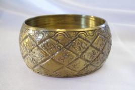 Quilted Antiqued Gold Lk Wide Bangle Bracelet Lightweight Vintage Estate... - $14.84