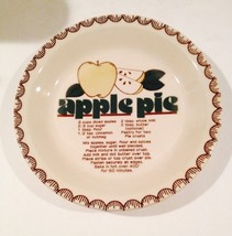 MOUNT CLEMENS POTTERY APPLE PIE RECIPE PLATE DISHWASHER SAFE MICROWAVE SAFE - $18.05
