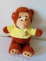 Kellytoy Monkey Yellow Banana Shirt Brown Tan Plush Stuffed Animal Tags - $34.62