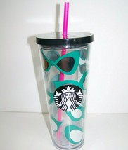 Starbucks Mirror Sunglasses Travel Tumbler Plastic Cup with Lid Straw 24... - $23.75
