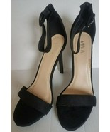VIVA High Heels Open Toe Black Shoes Buckle Strappy Sandals 40/9.5 - $13.50