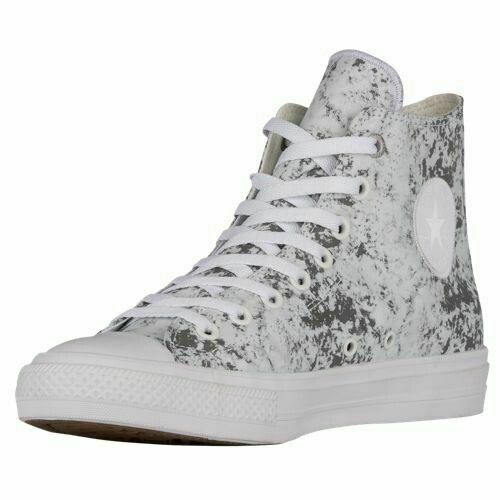 Converse Mens CTAS II Hi Reflective Wash High Top 154889C White/Silver Size 11