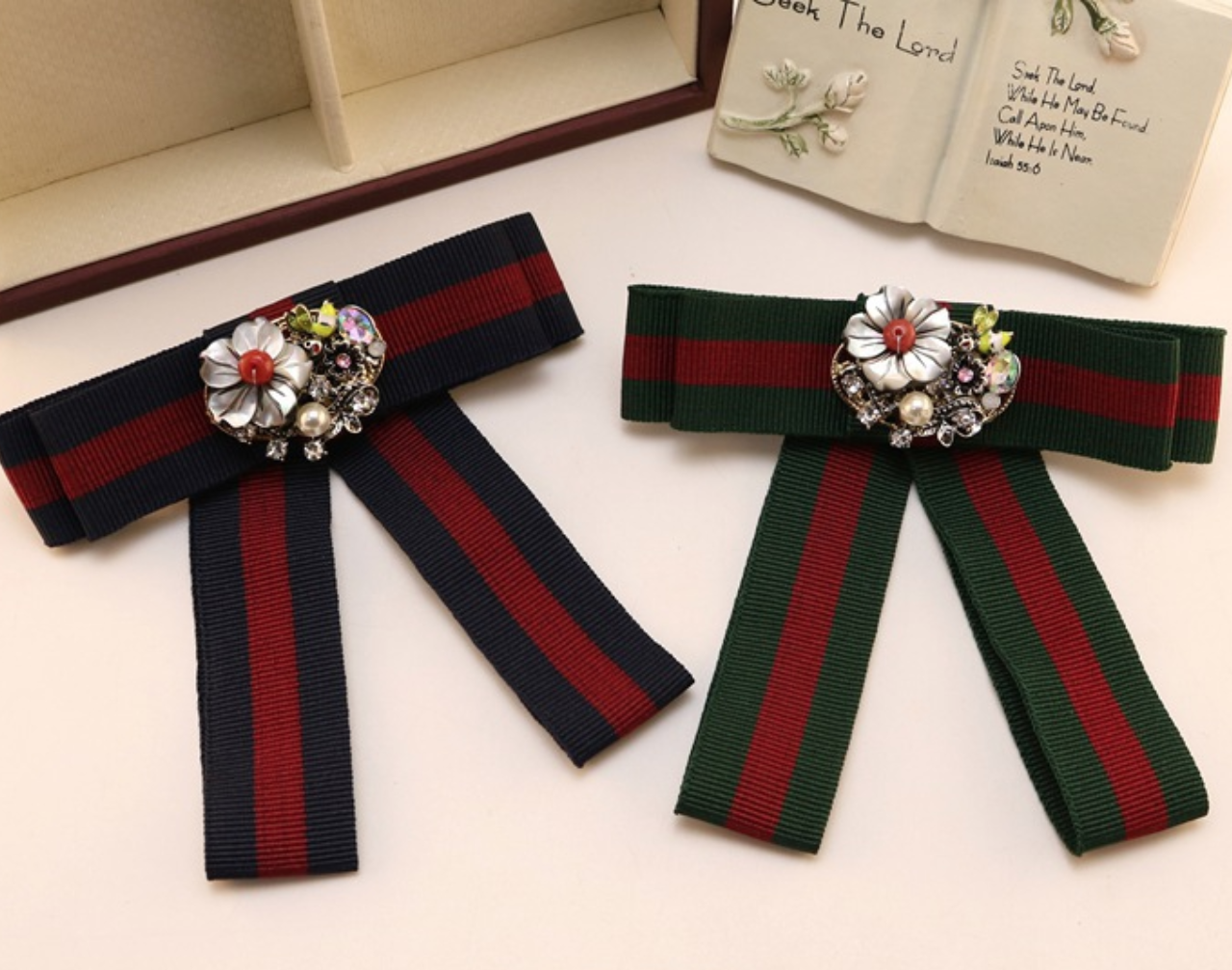 Primary image for Red Blue Green Flower Crystal Fashion Organza Pre Tied Bow Ribbon Brooch Pin