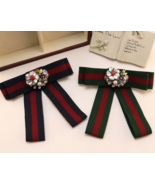 Red Blue Green Flower Crystal Fashion Organza Pre Tied Bow Ribbon Brooch... - $8.99