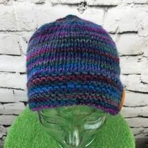 Unisex One Sz Hat Blue Purple Striped Knit Button Beanie Warm Winter Cap - $14.84