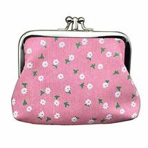 Panda Superstore Multilayer Solid Floral Pink Canvas Change Purse Keys Pocket Ca - $16.99