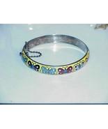 Vintg Bangle Cuff Bracelet Sterling Silver 925 Yellow Enamel Butterflies... - $133.64