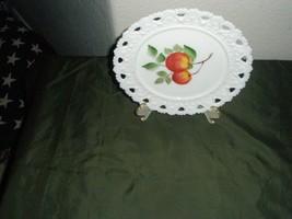 VINTAGE  Lace Beaded  Edge White Milk Glass Peach Design Plate - $28.05
