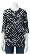 Dana Buchman Womens Black Blue Button Down Top Roll Up Sleeve Career Sz ... - $25.73