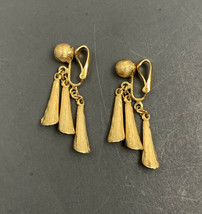 Vintage Brushed Gold Tone Drop Dangle Clip On Earrings Textured - $19.75