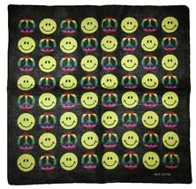 "22""x22"" Rainbow Peace Sign Yellow Smiley Face Black 100% Cotton Bandana - $6.88"