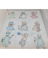 12 Vintage KITTENS Cats Hand Embroidered Quilt Squares or to Frame 8x8 - $38.65