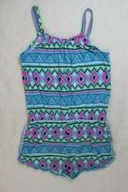 Okie Dokie Girls Romper Size XL 6X Blue Pink Print Stripe Shortset Sprin... - $22.76