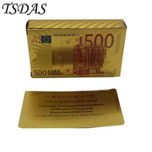 24k Gold 500 Euro Cards 54PCS/set Colored Golden Playing Cards For Famil... - $9.50