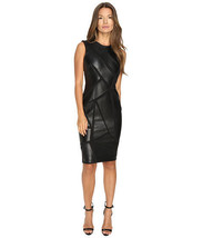 Paneled Sleeveless Round Neck Mini Cocktail Party Women Real Leather Dress