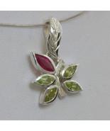 Pendant Red Ruby Green Peridot Handmade Sterling Floral Flower Dangle De... - $90.25