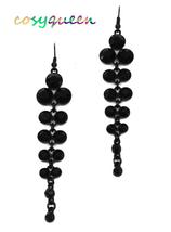 Women New Black Stone Deco Layer Drop Pierced Earrings - ₹1,367.54 INR