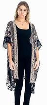 Baciano Floral Printed Shawl with Tatting Lace & Fringe Boho Coverup Pon... - £16.14 GBP