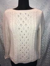 Talbots Petites Womens M Tan B Sweater Bling Rhinestones PM Beads - $24.94