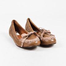 Lanvin Brown & Pink Leather Interwoven Bow Flats SZ 40 - $125.00