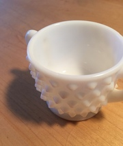 Vintage 70s Milk Glass hobnail style small sugar bowl with 2 handles image 5
