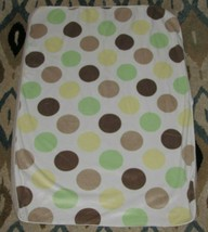 Just Born Baby Blanket Sherpa White Brown Lime Green Yellow Polka Dot Circle - $15.83